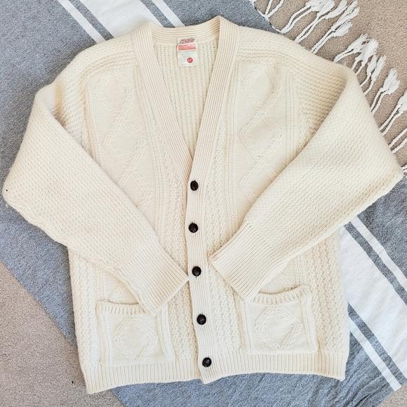 Vintage St. Michael Cream Wool Fisherman Cardigan
